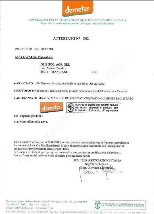 Certificato - Demeter